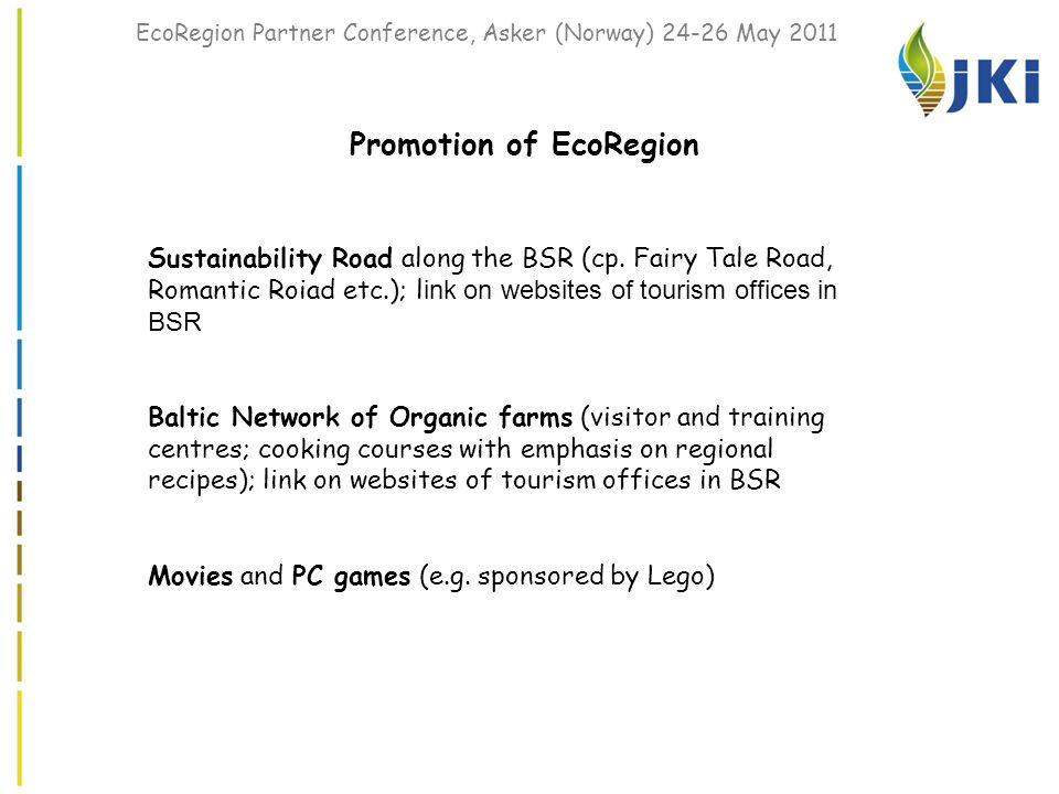 EcoRegion Partner Conference, Asker (Norway) 24-26 May 2011 Promotion of EcoRegion Sustainability Road along the BSR (cp.