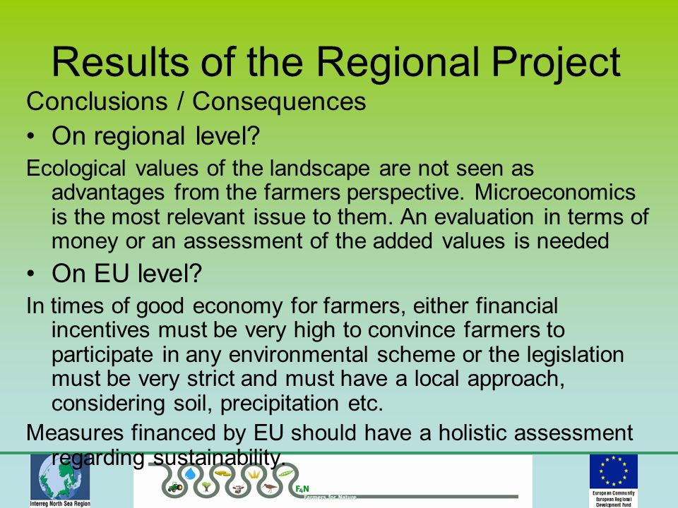 Results of the Regional Project Conclusions / Consequences On regional level.