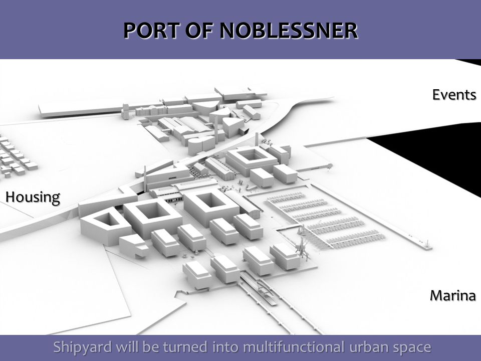 PORT OF NOBLESSNER Shipyard will be turned into multifunctional urban space Shipyard will be turned into multifunctional urban space Events Marina Marina Housing