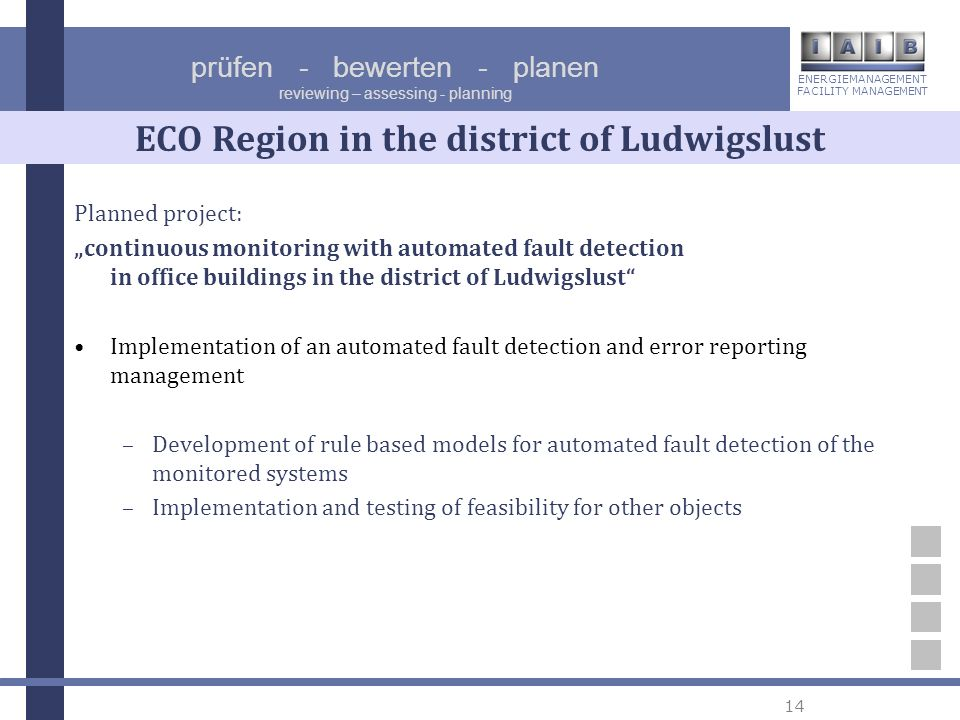 ENERGIEMANAGEMENT FACILITY MANAGEMENT prüfen - bewerten - planen reviewing – assessing - planning 14 ECO Region in the district of Ludwigslust Planned