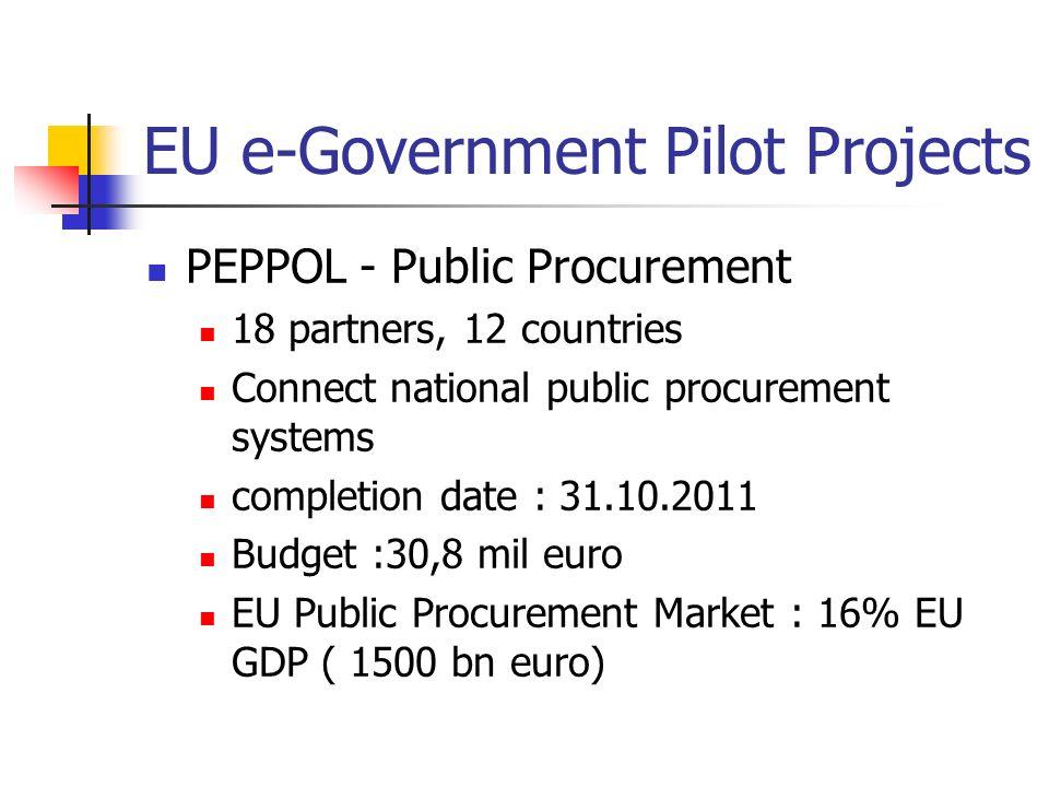 EU e-Government Pilot Projects PEPPOL - Public Procurement 18 partners, 12 countries Connect national public procurement systems completion date : 31.10.2011 Budget :30,8 mil euro EU Public Procurement Market : 16% EU GDP ( 1500 bn euro)