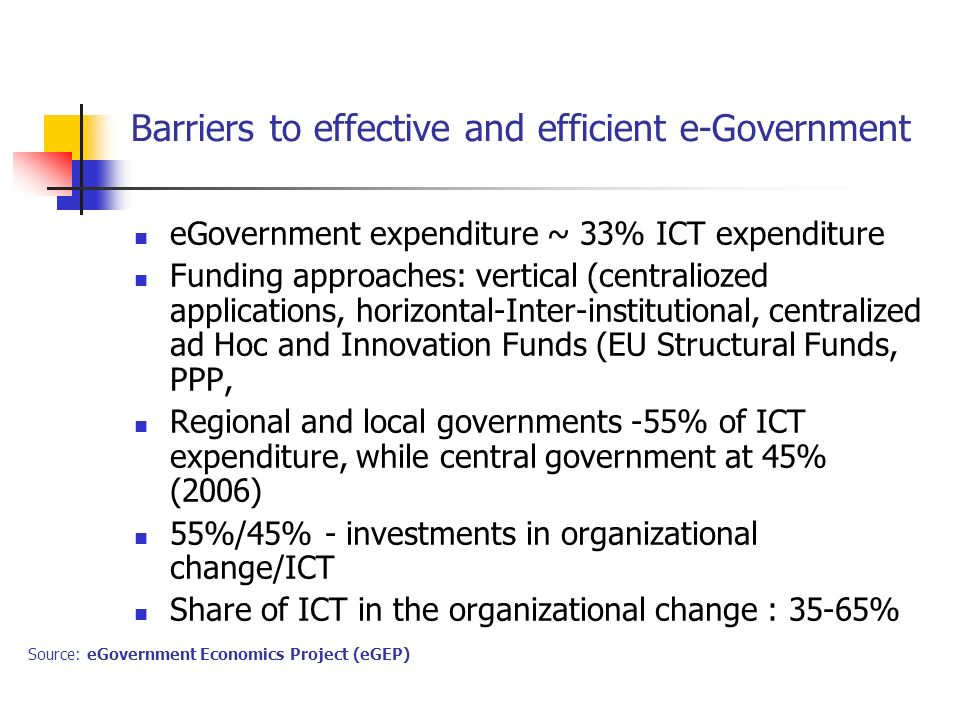 Barriers to effective and efficient e-Government eGovernment expenditure ~ 33% ICT expenditure Funding approaches: vertical (centraliozed applications, horizontal-Inter-institutional, centralized ad Hoc and Innovation Funds (EU Structural Funds, PPP, Regional and local governments -55% of ICT expenditure, while central government at 45% (2006) 55%/45% - investments in organizational change/ICT Share of ICT in the organizational change : 35-65% Source: eGovernment Economics Project (eGEP)