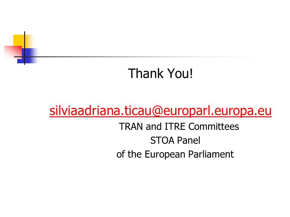 Thank You! silviaadriana.ticau@europarl.europa.eu TRAN and ITRE Committees STOA Panel of the European Parliament
