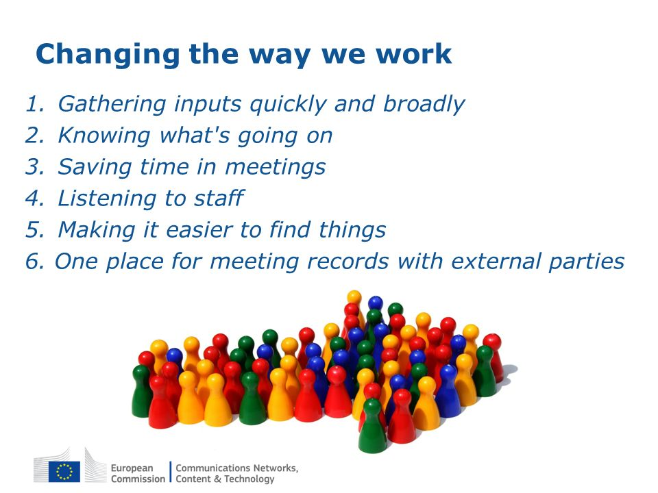 Changing the way we work 1.Gathering inputs quickly and broadly 2.Knowing what's going on 3.Saving time in meetings 4.Listening to staff 5.Making it e