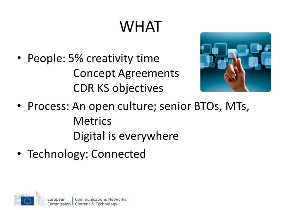 WHAT People: 5% creativity time Concept Agreements CDR KS objectives Process: An open culture; senior BTOs, MTs, Metrics Digital is everywhere Technol