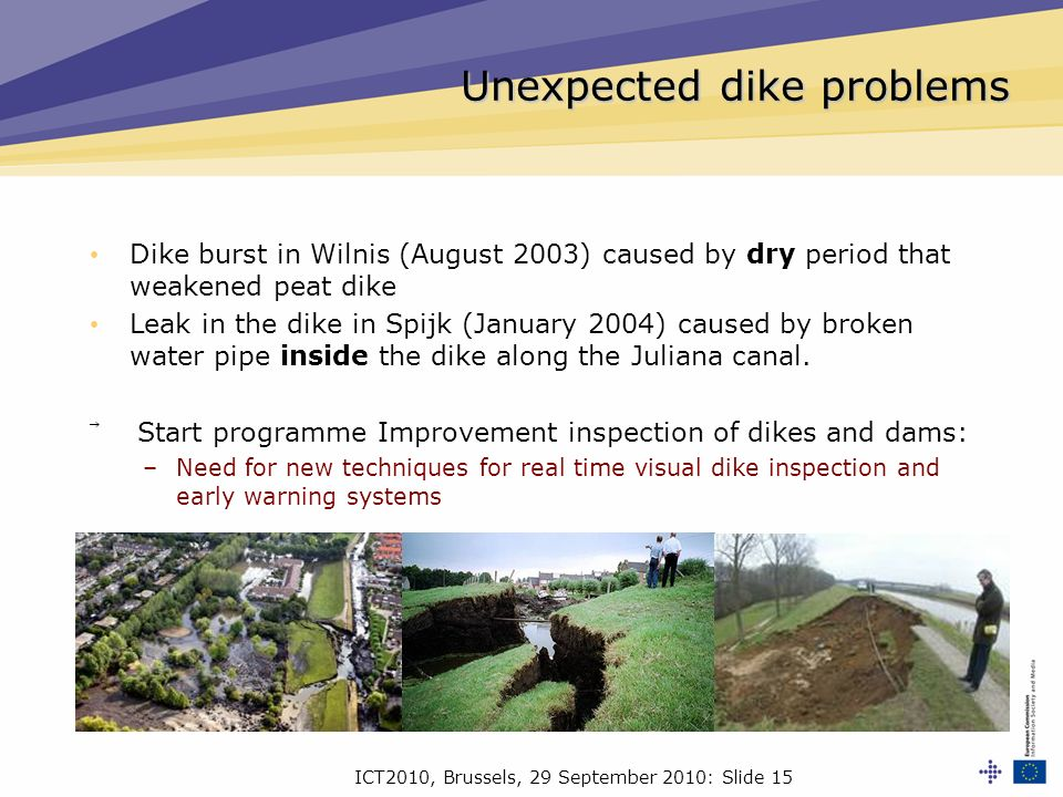 ICT2010, Brussels, 29 September 2010: Slide 15 Unexpected dike problems Dike burst in Wilnis (August 2003) caused by dry period that weakened peat dike Leak in the dike in Spijk (January 2004) caused by broken water pipe inside the dike along the Juliana canal.