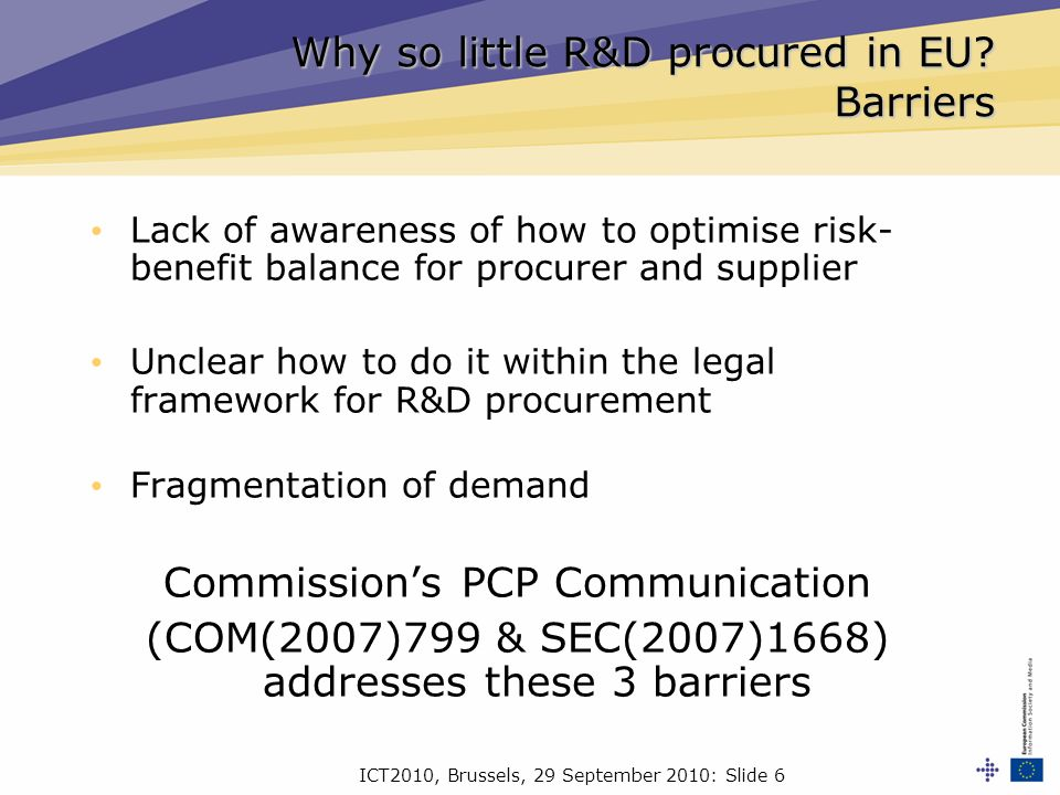ICT2010, Brussels, 29 September 2010: Slide 6 Why so little R&D procured in EU.