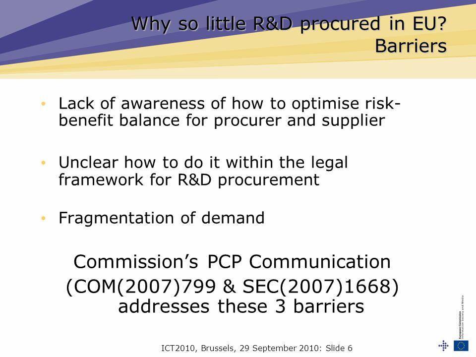 ICT2010, Brussels, 29 September 2010: Slide 17 EU support for PCP