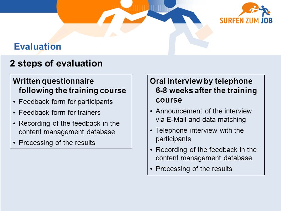 2 steps of evaluation Written questionnaire following the training course Feedback form for participants Feedback form for trainers Recording of the feedback in the content management database Processing of the results Oral interview by telephone 6-8 weeks after the training course Announcement of the interview via E-Mail and data matching Telephone interview with the participants Recording of the feedback in the content management database Processing of the results Evaluation
