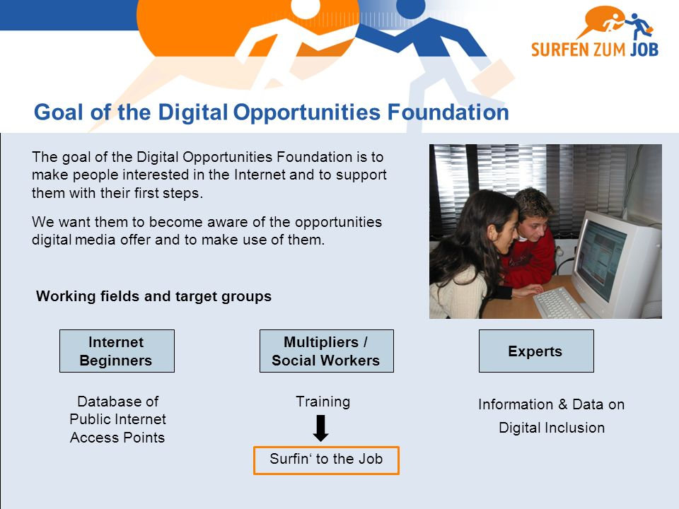 Goal of the Digital Opportunities Foundation The goal of the Digital Opportunities Foundation is to make people interested in the Internet and to support them with their first steps.