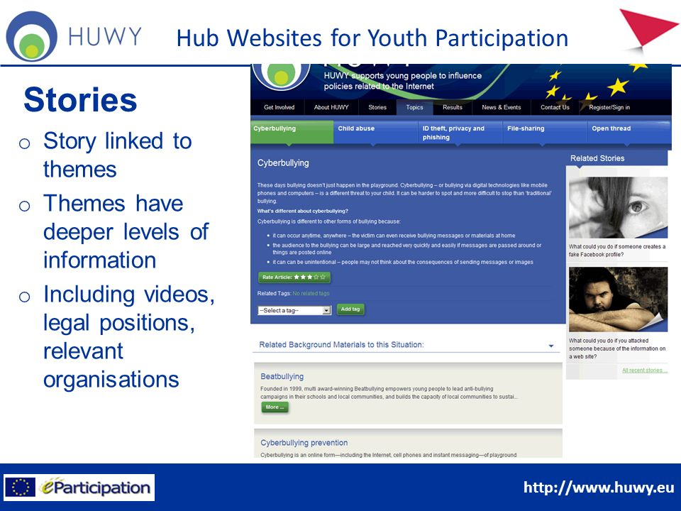http://www.huwy.eu Hub Websites for Youth Participation Stories o Story linked to themes o Themes have deeper levels of information o Including videos, legal positions, relevant organisations