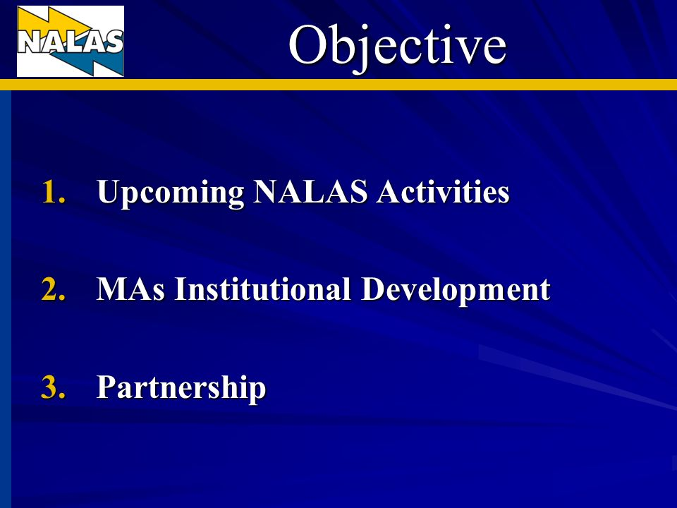 Objective 1.Upcoming NALAS Activities 2.MAs Institutional Development 3.Partnership