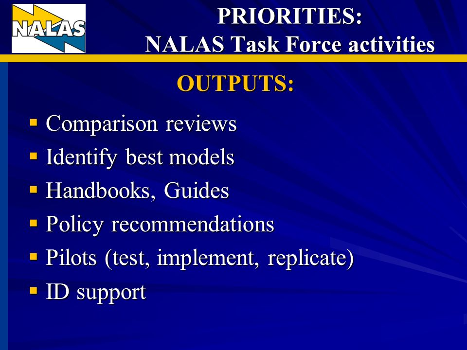 PRIORITIES: NALAS Task Force activities OUTPUTS: Comparison reviews Comparison reviews Identify best models Identify best models Handbooks, Guides Han