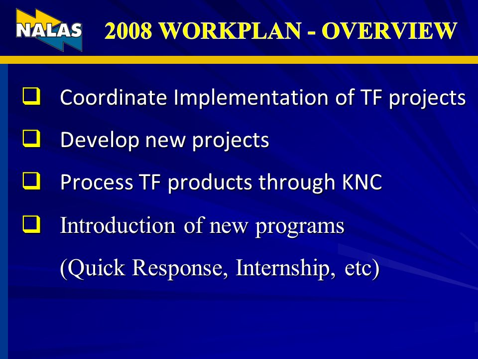 Coordinate Implementation of TF projects Coordinate Implementation of TF projects Develop new projects Develop new projects Process TF products throug