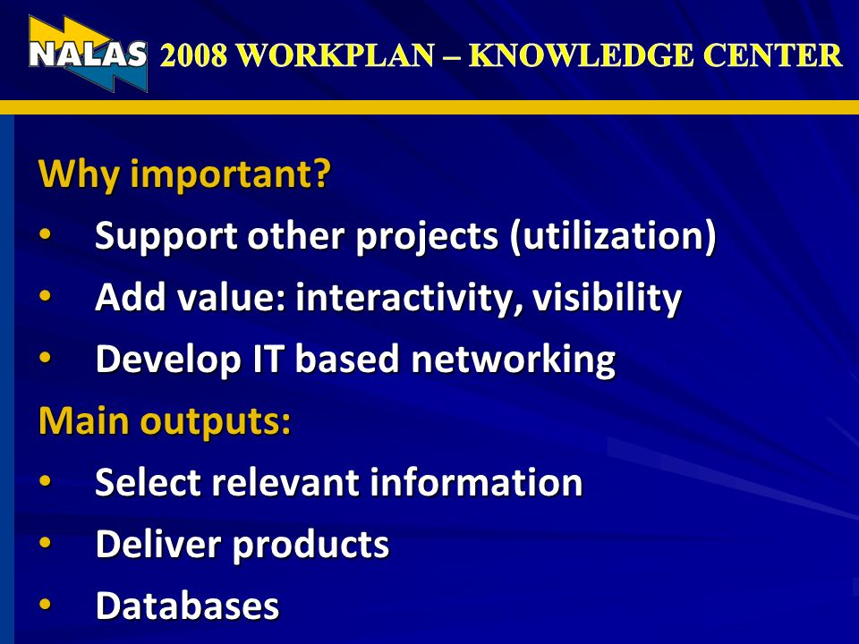 Why important? Support other projects (utilization) Support other projects (utilization) Add value: interactivity, visibility Add value: interactivity