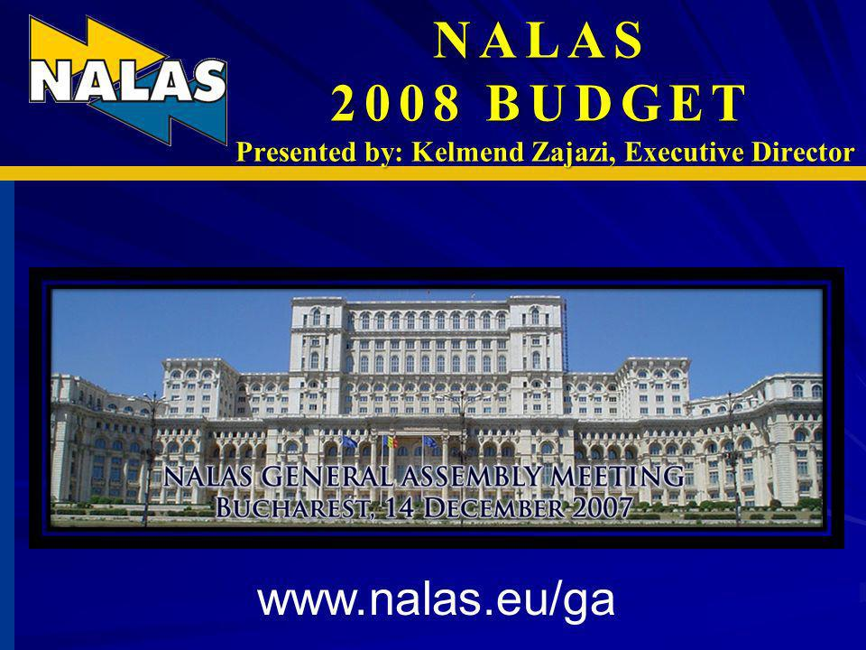 NALAS 2008 BUDGET Presented by: Kelmend Zajazi, Executive Director www.nalas.eu/ga