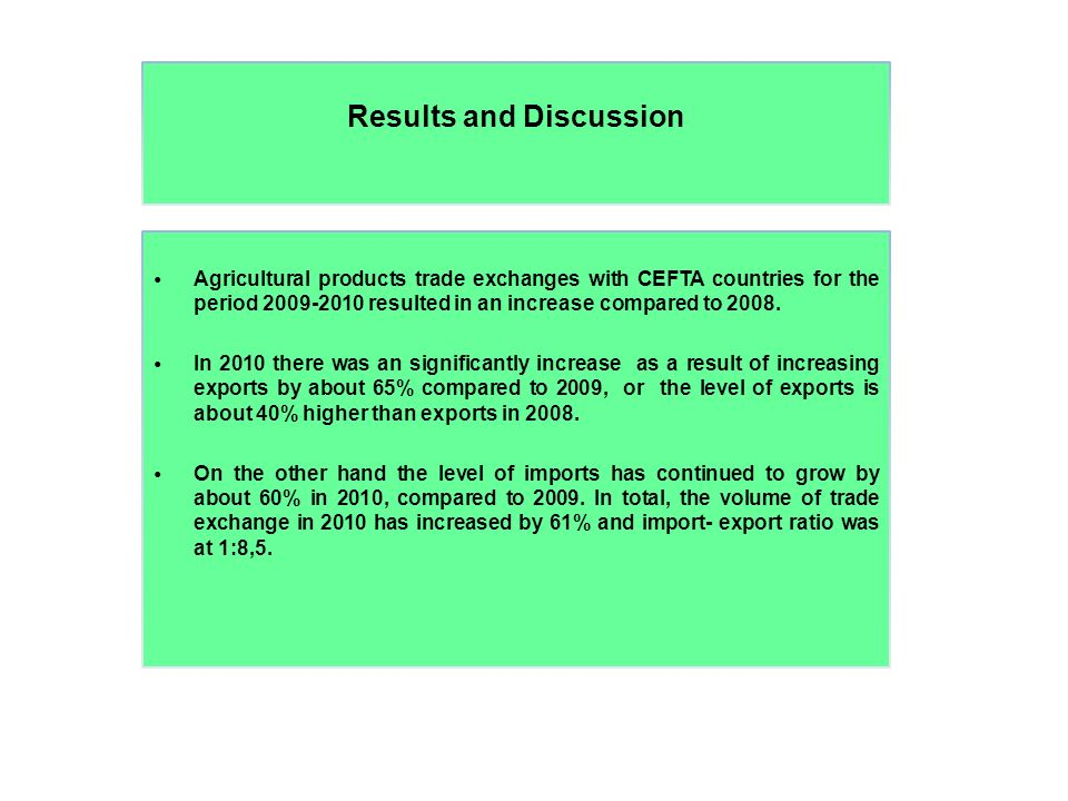 Results and Discussion Agricultural products trade exchanges with CEFTA countries for the period 2009-2010 resulted in an increase compared to 2008.