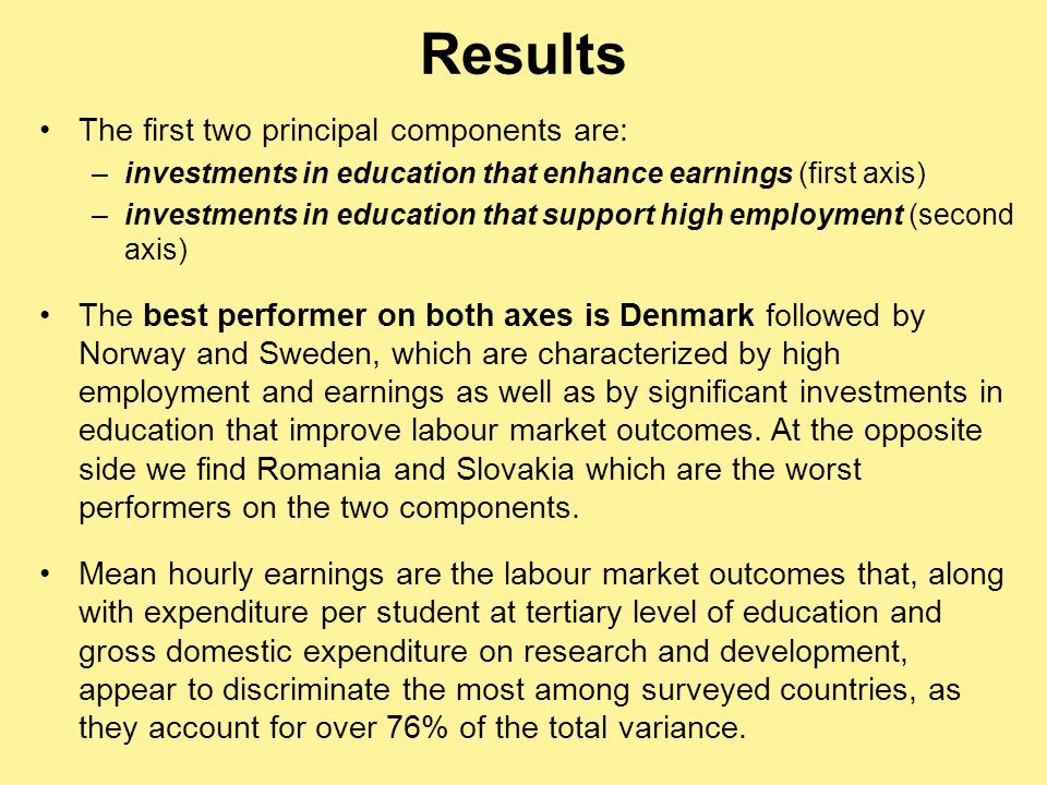 The first two principal components are: –investments in education that enhance earnings (first axis) –investments in education that support high emplo