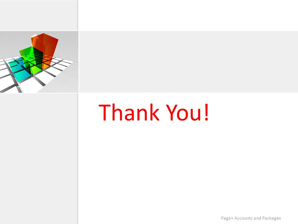 Thank You! Paga+ Accounts and Packages