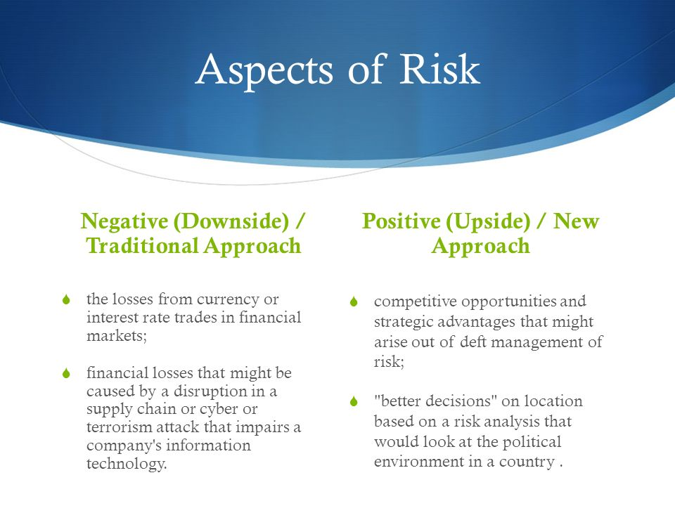 Aspects of Risk Negative (Downside) / Traditional Approach the losses from currency or interest rate trades in financial markets; financial losses tha