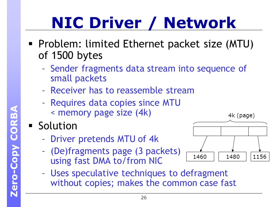 26 NIC Driver / Network Problem: limited Ethernet packet size (MTU) of 1500 bytes –Sender fragments data stream into sequence of small packets –Receiver has to reassemble stream –Requires data copies since MTU < memory page size (4k) Solution –Driver pretends MTU of 4k –(De)fragments page (3 packets) using fast DMA to/from NIC –Uses speculative techniques to defragment without copies; makes the common case fast 4k (page) 146014801156 Zero-Copy CORBA