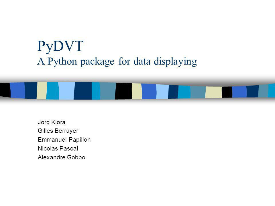 PyDVT A Python package for data displaying Jorg Klora Gilles Berruyer Emmanuel Papillon Nicolas Pascal Alexandre Gobbo