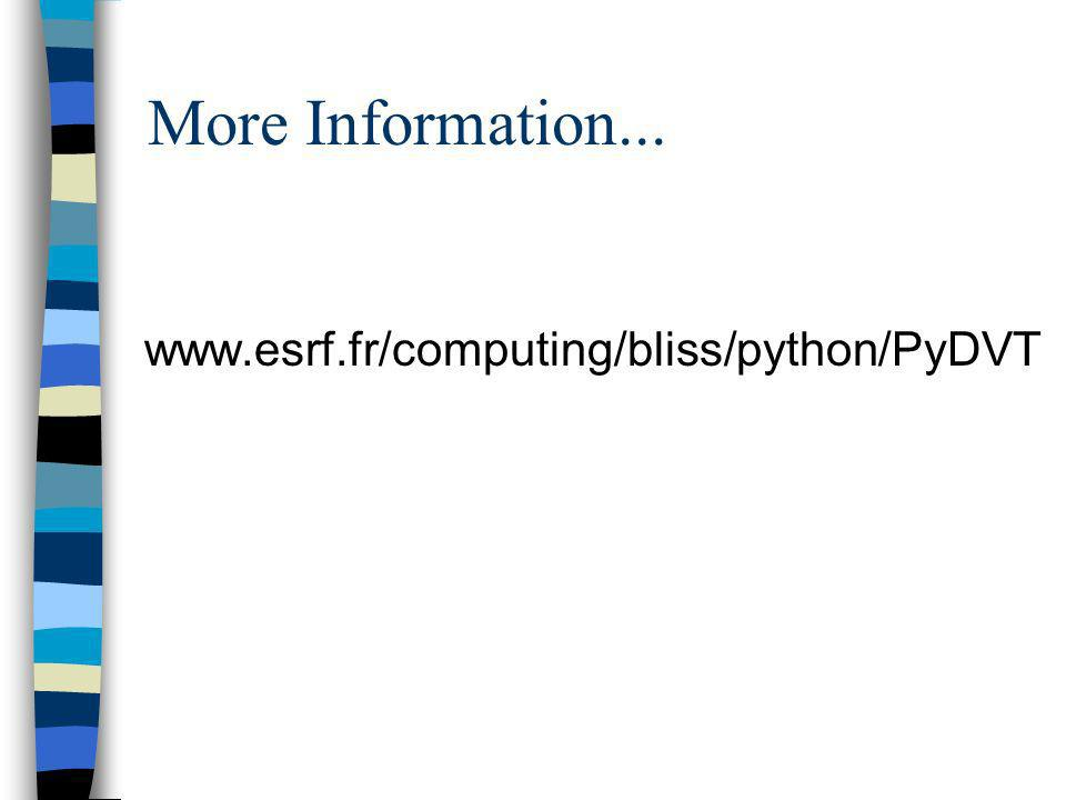 More Information... www.esrf.fr/computing/bliss/python/PyDVT