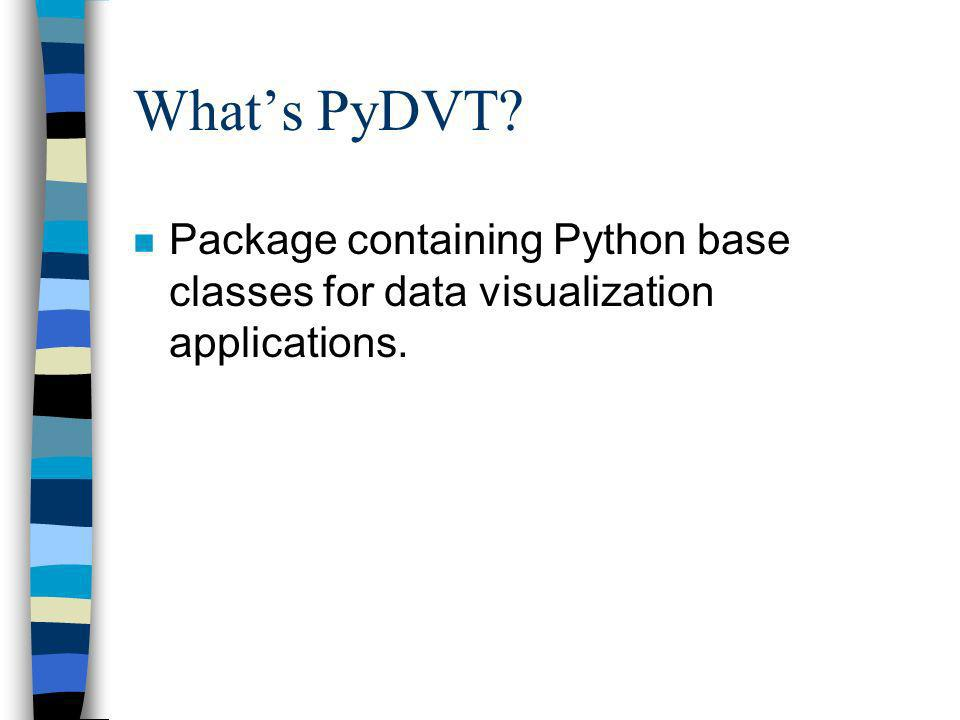 Whats PyDVT? n Package containing Python base classes for data visualization applications.