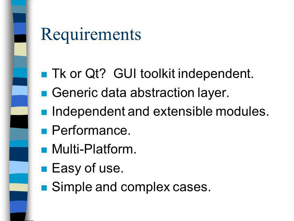 Requirements n Tk or Qt? GUI toolkit independent. n Generic data abstraction layer. n Independent and extensible modules. n Performance. n Multi-Platf