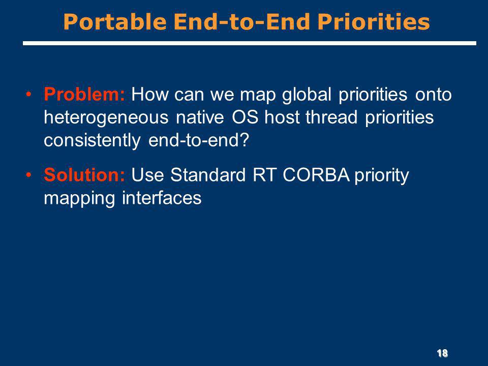 18 Portable End-to-End Priorities Problem: How can we map global priorities onto heterogeneous native OS host thread priorities consistently end-to-end.