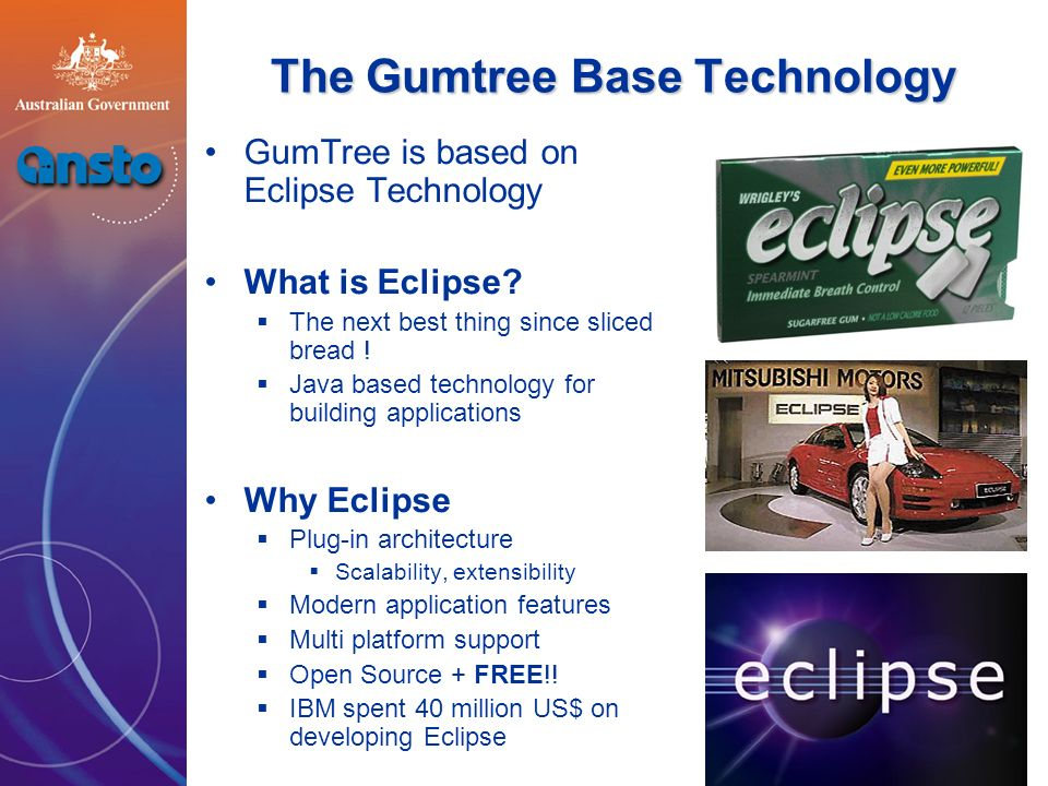 The Gumtree concept Fat client as opposed to thin client The single workbench for doing all the scientist needs to do take and analyse data The various tools the scientist needs are written as Eclipse plugins The tools plug in to the workbench to form a coherent integrated application The standard tasks needed for doing beamline control are provided by Gumtree Gumtree abstracts the standard tasks as a set of interfaces e.g.