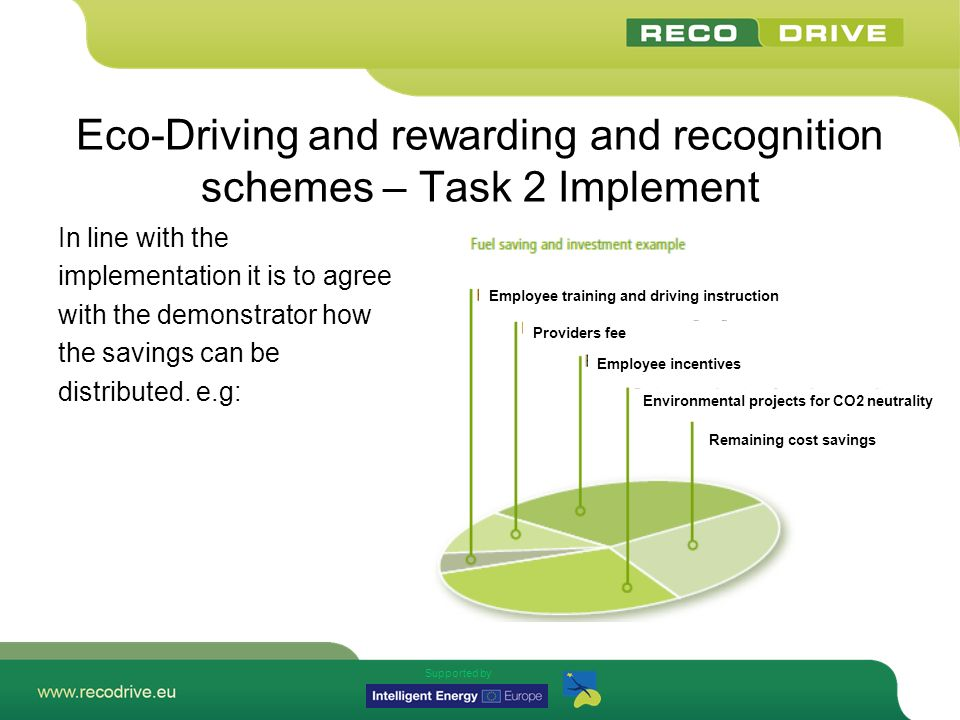 Supported by Eco-Driving and rewarding and recognition schemes – Task 2 Implement In line with the implementation it is to agree with the demonstrator how the savings can be distributed.