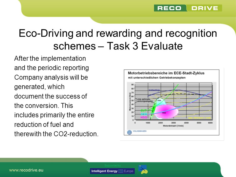 Supported by Eco-Driving and rewarding and recognition schemes – Task 3 Evaluate After the implementation and the periodic reporting Company analysis will be generated, which document the success of the conversion.