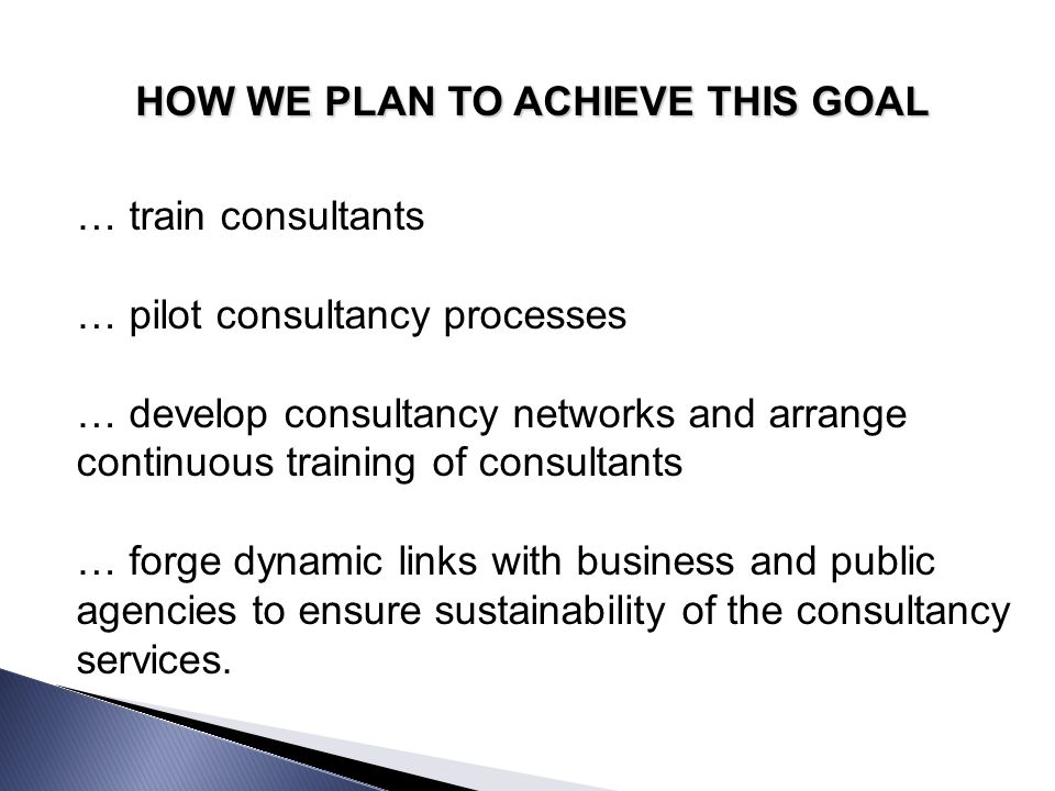 HOW WE PLAN TO ACHIEVE THIS GOAL … carry out state-of-the-art research to identify advantages, legal provisions, services offered, experiences and best inclusive practices with regard to employment of people with disabilities … develop consultancy instruments (checklists and tools to describe job-specific competencies, support for job matching processes, potential problem identification, analysis of environmental obstacles, provision of employer recommendations)