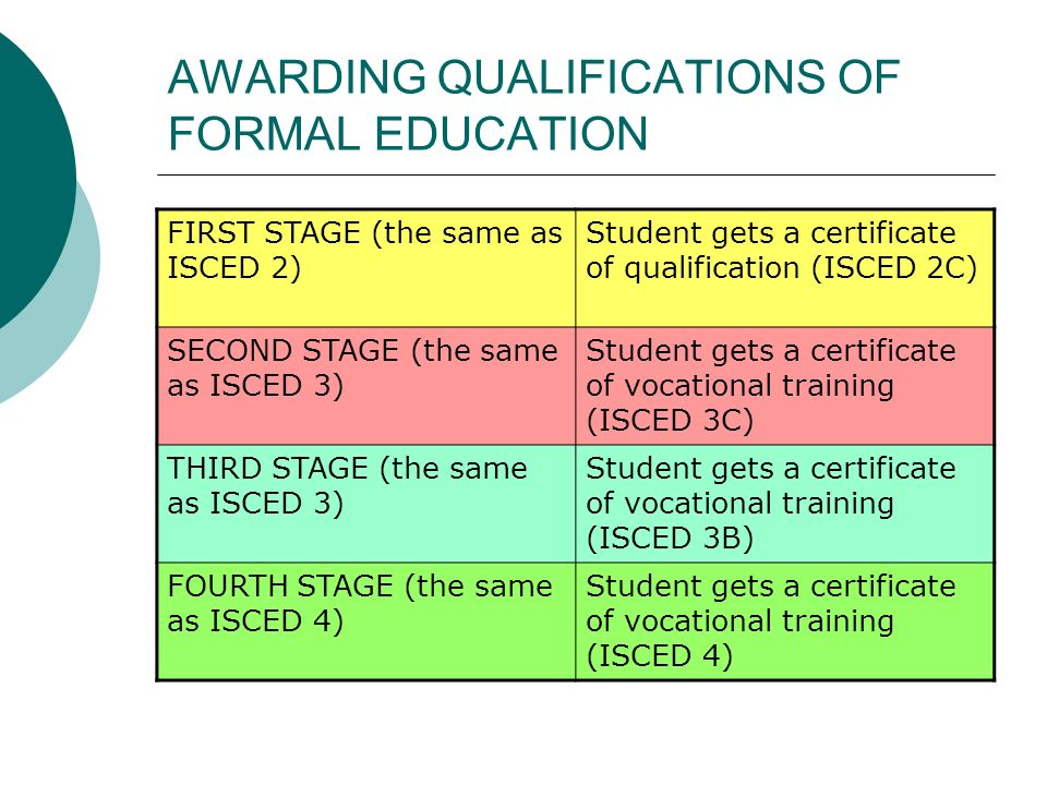 AWARDING QUALIFICATIONS OF FORMAL EDUCATION FIRST STAGE (the same as ISCED 2) Student gets a certificate of qualification (ISCED 2C) SECOND STAGE (the