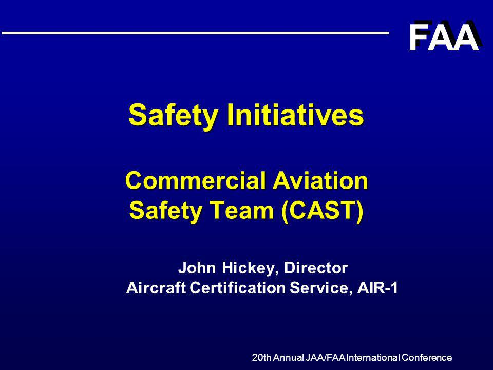 Completed Safety Enhancements (contd) l Safety Culture – Industry will include essential safety information in the appropriate airline manuals (i.e., training programs) – FAA inspectors will utilize the Aircraft Flight Manual (AFM) database – CEO and Director of Safety (DOS) more visible l Maintenance Procedures – FAA published guidance on: Servicing landing struts Surveillance of maintenance subcontractors Minimum Equipment List (MEL) (covers recurring maintenance events) – Air Carriers Directors of Safety completed internal surveys to verify guidance was being followed l ALAR Flight crew training l Uncontained Engine Failures – FAA issued Airworthiness Directives requiring the Inspection of High-Energy Rotating Parts 20th Annual JAA/FAA International Conference 12