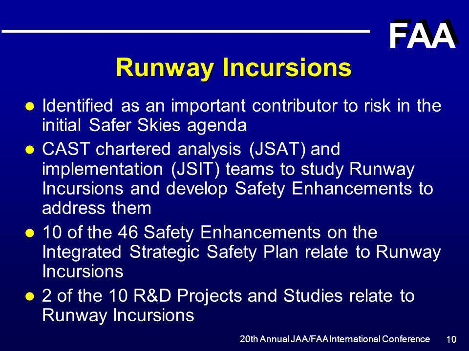 20th Annual JAA/FAA International Conference FAA 10 Runway Incursions l Identified as an important contributor to risk in the initial Safer Skies agen