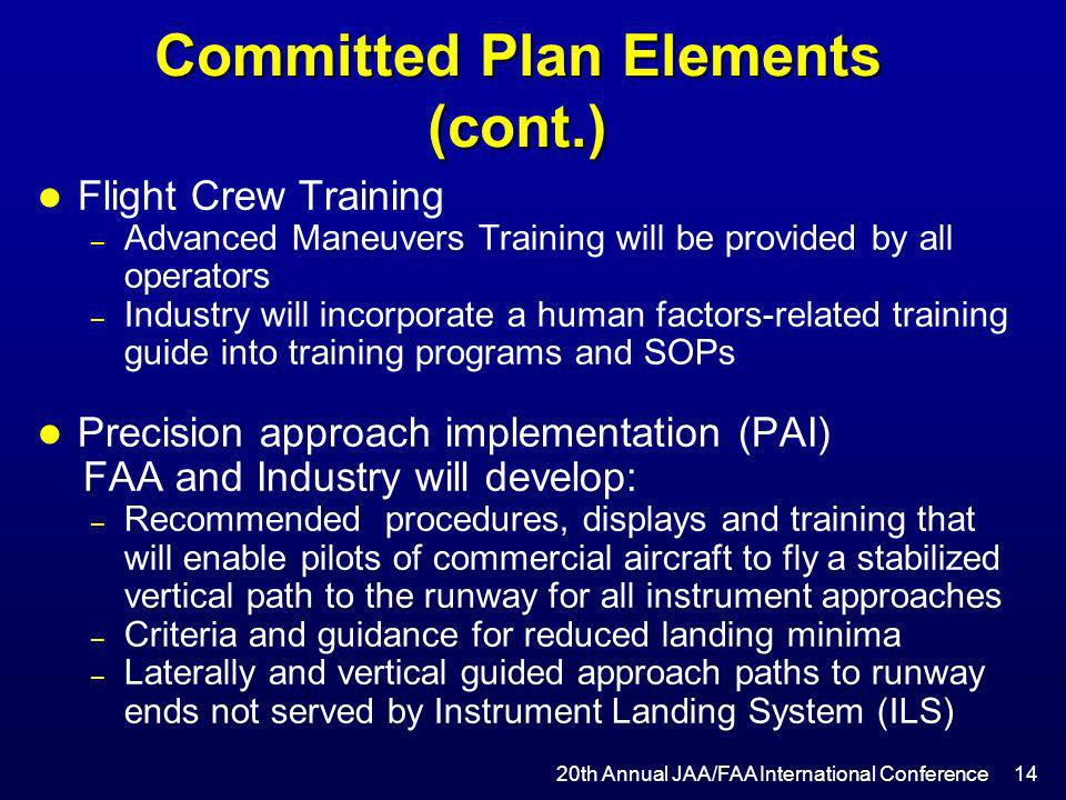 Committed Plan Elements (cont.) l Flight Crew Training – Advanced Maneuvers Training will be provided by all operators – Industry will incorporate a h