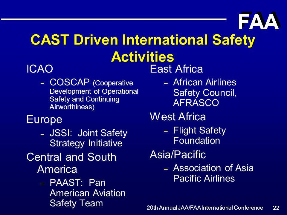 20th Annual JAA/FAA International Conference FAA 22 CAST Driven International Safety Activities ICAO – COSCAP (Cooperative Development of Operational