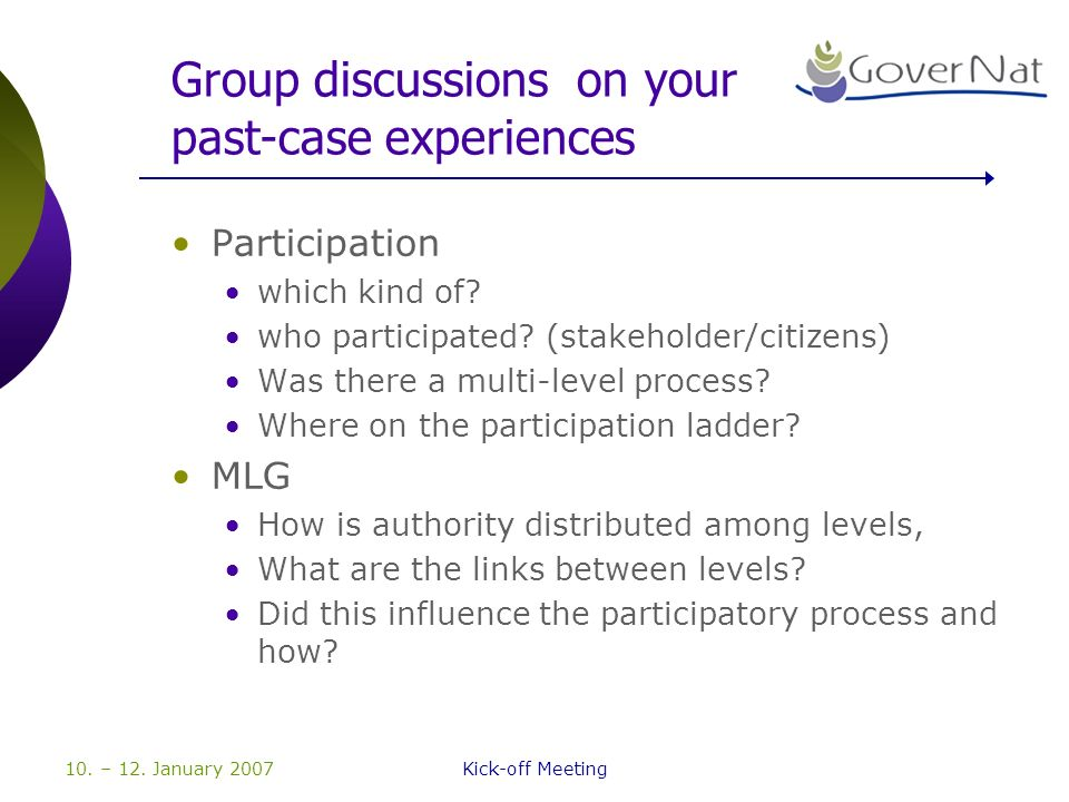 10. – 12. January 2007Kick-off Meeting Group discussions on your past-case experiences Participation which kind of? who participated? (stakeholder/cit