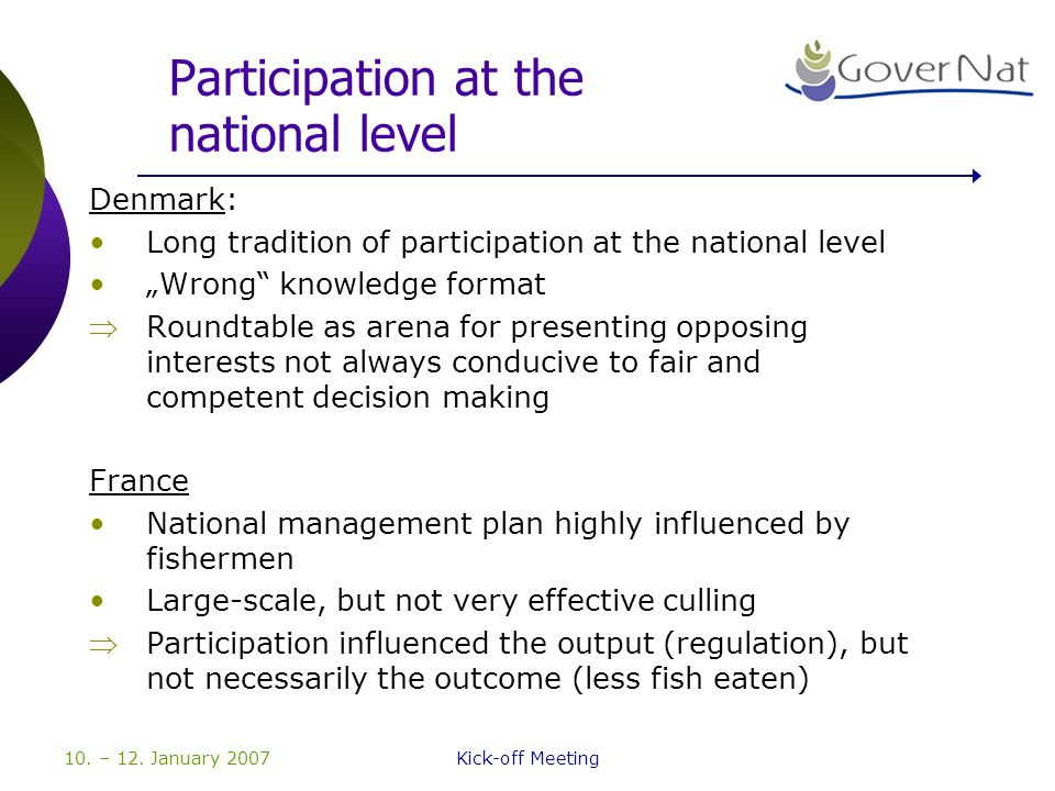 10. – 12. January 2007Kick-off Meeting Participation at the national level Denmark: Long tradition of participation at the national level Wrong knowle