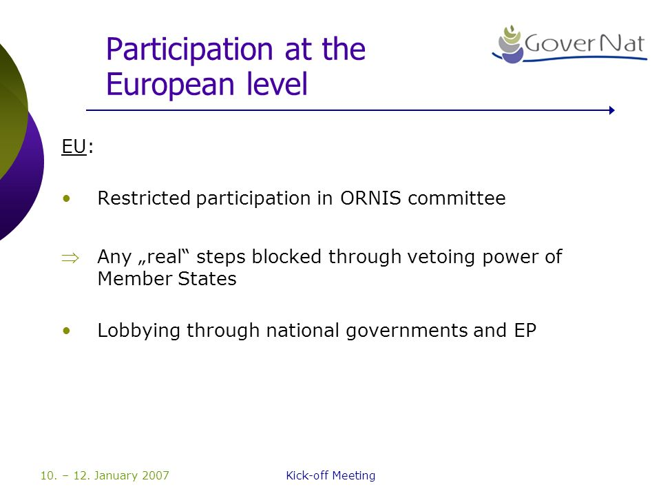 10. – 12. January 2007Kick-off Meeting Participation at the European level EU: Restricted participation in ORNIS committee Any real steps blocked thro