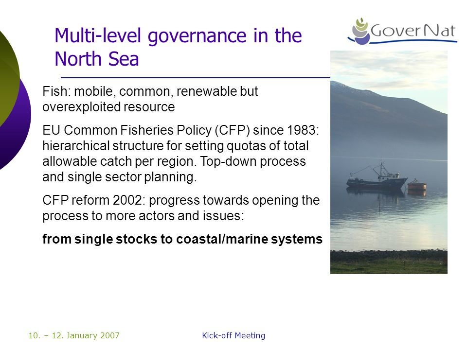 10. – 12. January 2007Kick-off Meeting Multi-level governance in the North Sea Fish: mobile, common, renewable but overexploited resource EU Common Fi