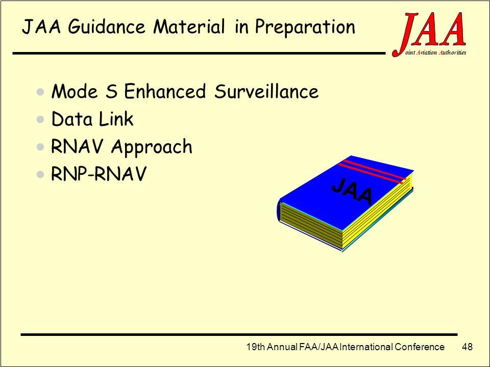 19th Annual FAA/JAA International Conference ointAviationAuthorities 47 JAA TGL No. 8 rev 2: ACAS II Certification JAA TGL No. 11: ACAS II Training AC
