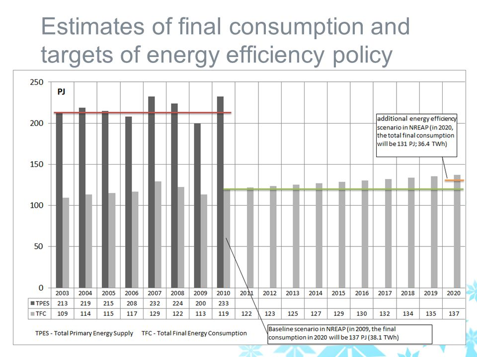 Estimates of final consumption and targets of energy efficiency policy