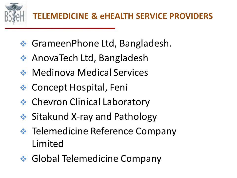 TELEMEDICINE & eHEALTH SERVICE PROVIDERS GrameenPhone Ltd, Bangladesh.