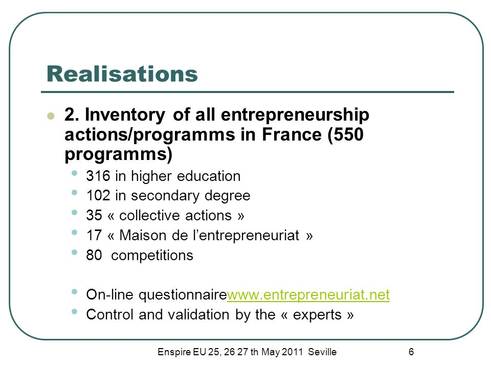 Enspire EU 25, 26 27 th May 2011 Seville 6 Realisations 2. Inventory of all entrepreneurship actions/programms in France (550 programms) 316 in higher
