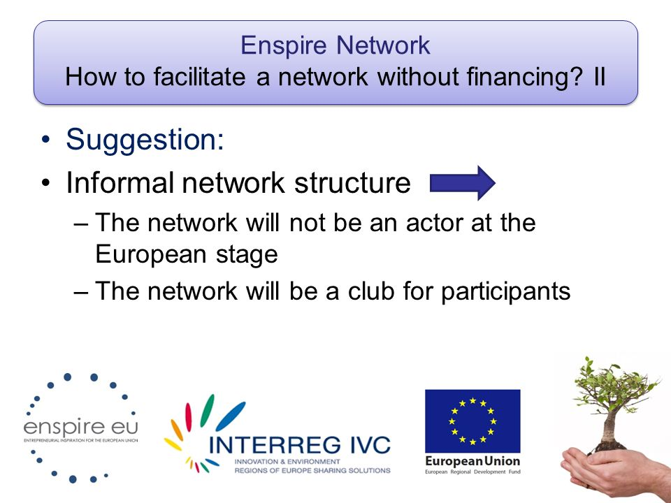 Enspire Network How to facilitate a network without financing.