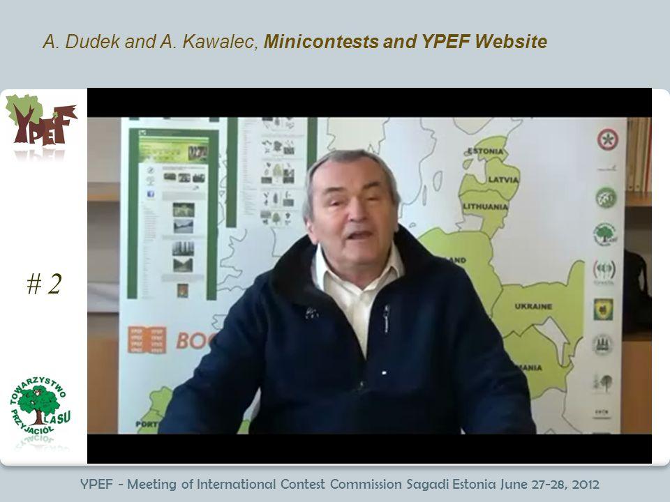 YPEF - Meeting of International Contest Commission Sagadi Estonia June 27-28, 2012 A. Dudek and A. Kawalec, Minicontests and YPEF Website # 2