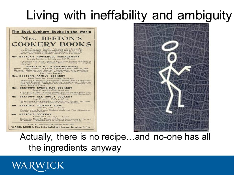 Living with ineffability and ambiguity Actually, there is no recipe…and no-one has all the ingredients anyway © University of Warwick, 2008